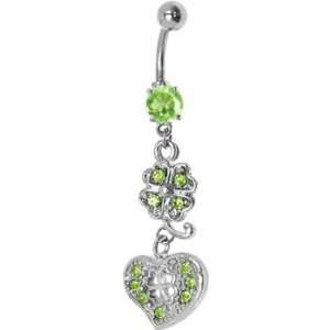 Green Cubic Zirconia Heart Shamrock Belly Ring Jewelry