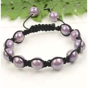 Light Purple Violet Porcelain Beads Black Cord Macrame Beaded