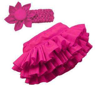 Cute Baby Girls Ruffle Pants Bloomers Nappy Cover Skrit with Headband