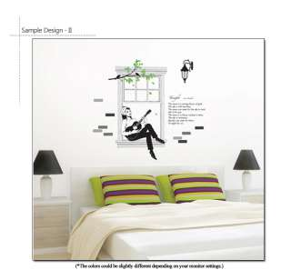 WOMAN WITH THE GUITAR Mural Art Wall Sticker Decal Poem