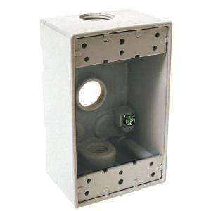 Bell 2 in. Deep Single Gang Weatherproof Box, 3 Hole, 1/2 in. Outlet