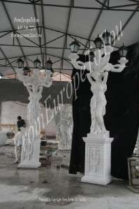 MONUMENTAL FIGURAL HAND CARVED MARBLE STREET LIGHTS