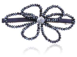 Midnight Blue Beads Crystal Rhinestone Flower Barrette Hair Clip