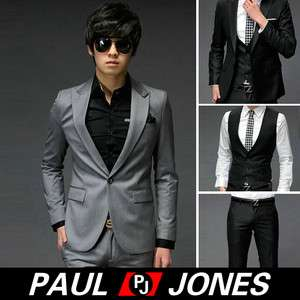 Stylish Slim Fit One Button Suit XZ04 blazer&vest&pants HAND MAD