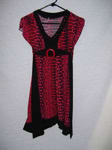 GIRLS BLACK RED POLKA DOT DRESS SIZE LARGE