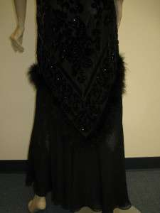 Sue Wong Designer Dress 6 Black Pink Evening Formal Gown Dress Feather
