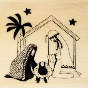 Christmas Nativity Manger Rubber Stamp   Wood Mounted