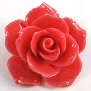 37mm pink coral carved rose flower pendant bead