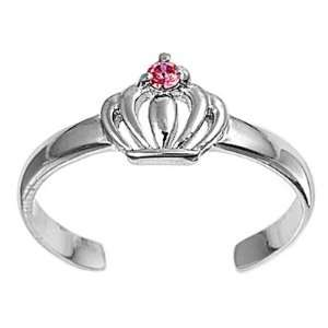 Silver Fashion Toe Ring   Crown with Pink CZ   2mm Band Width Jewelry