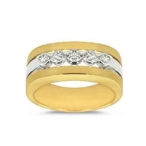 Ring   Bezel Set Five Stone Diamond Mens Ring is 18k Gold Two Tone
