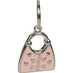 Closet 10 mm Pink Enamel Purse Tag Charm, ColorSilver