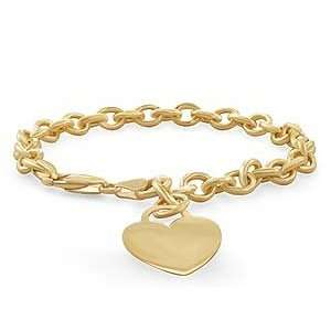 14k Yellow Gold Rolo Link Heart Charm Bracelet 6mm Jewelry