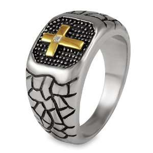 Stainless Steel Mens Ring with Gold Color Cross & CZ