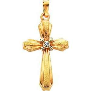 14K Two Tone Gold .01ct Diamond Cross Pendant Jewelry