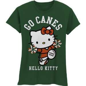 NCAA Miami Hurricanes Hello Kitty Pom Pom Girls Crew Tee Shirt