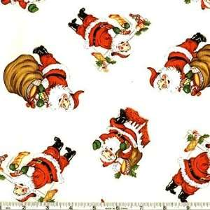45 Wide Merry Christmas Santa Joy Cream Fabric By The