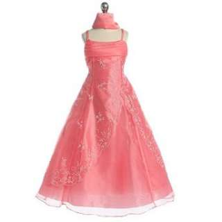 Chic Baby Girl Coral Beaded Sleeveless Pageant Flower Girl