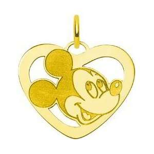Gold Plated Sterling Silver Disney Mickey Mouse Heart Charm Jewelry