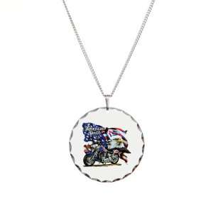 Necklace Circle Charm American Pride US Flag Motorcycle