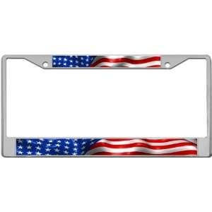 American Flag Custom License Plate METAL Frame from Redeye