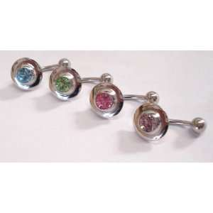 of 4 Blue, Green, Pink, and Purple Gem Belly Rings