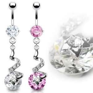 316L Prong Set Pink Belly Ring with Clear Gem Star Swirl