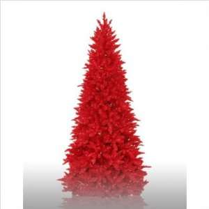 Prelit Slim Red Ashley Artificial Christmas Tree with Red Lights Baby