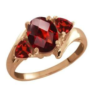 Red Garnet Gemstone Gold Plated Sterling Silver Ring Jewelry