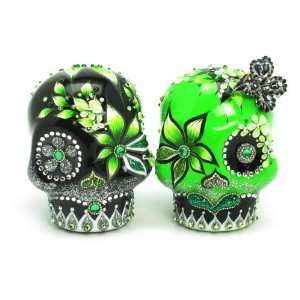Green and Black Wedding Day of Dead Skull Wedding Cake Toppers Day of