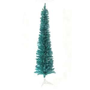 Wild Teal Pencil Tinsel Artificial Christmas Tree