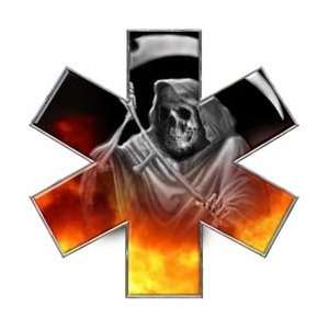 Grim Reaper Star of Life EMT EMS Real Fire 6 Reflective