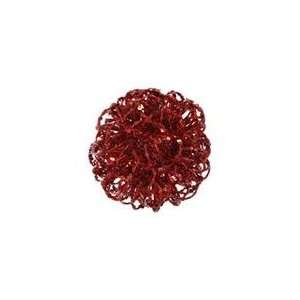 Sparkling Red Hot Curly Ball Christmas Ornament