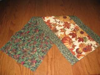 Handmade Quilted Table Runner Thanksgiving Fall Leaves Christmas Pine