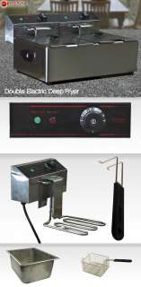 Double Deep Fryer Electric 5000 Watt Commercial Restaurant Frying Deep
