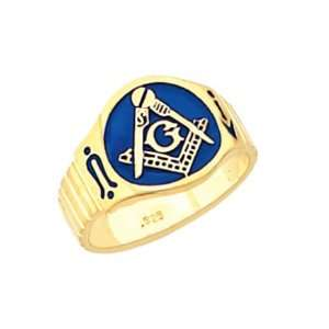 Plated Sterling Silver) Masonic Freemason Mason Ring (Size 8) Jewelry